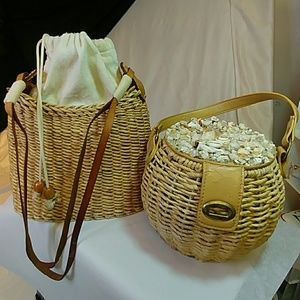Cappelli, and other Bags - 2 purses, vintage straw/shell bucket purse